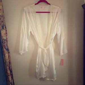 White silk and lace bridal robe